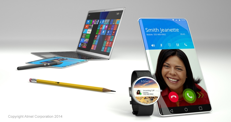 3D rendering of a mobile phone smart waych pencil stylus tablet and laptop
