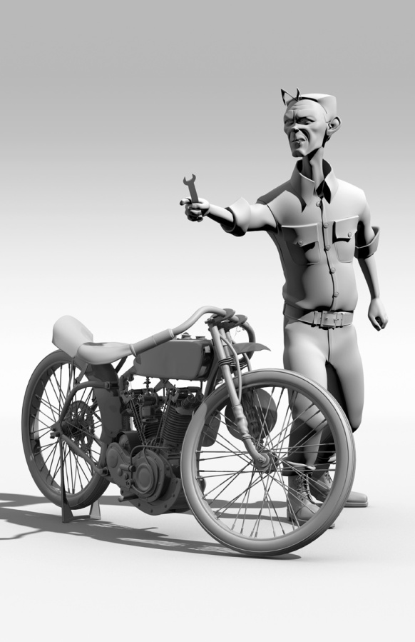 3D model of 1924 Harley Davidson and mechanic