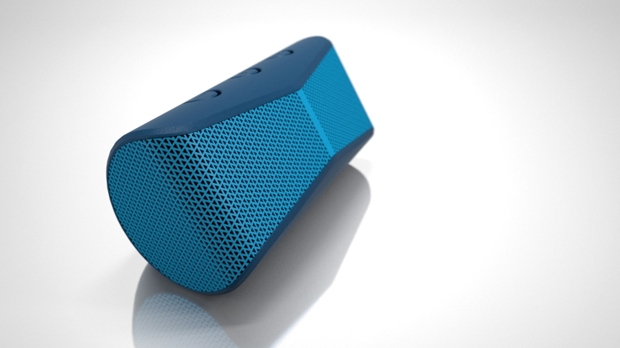 3D rendering of Logitech X300 bluetooth speaker