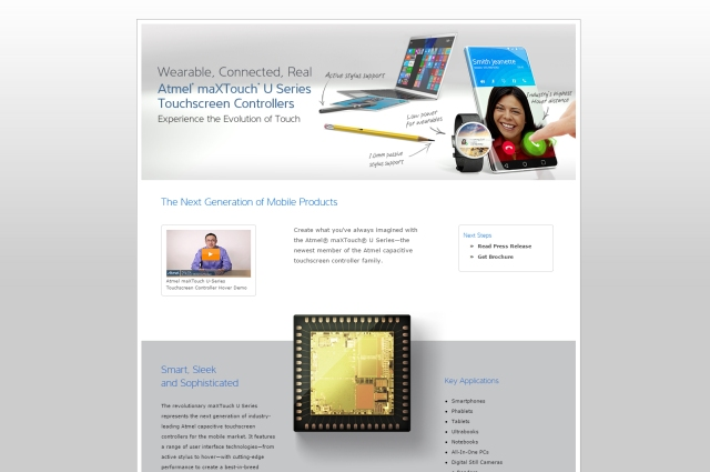 screen capture of atmel maxtouch u landing web pag